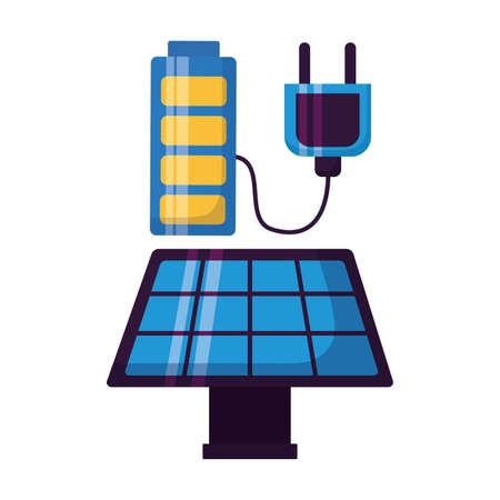 energy sustainable solar panel battery vector illustration