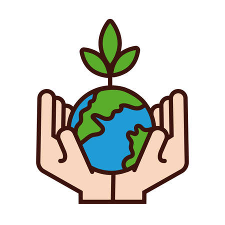 hands lifting world planet earth and plant line and fill style vector illustration design