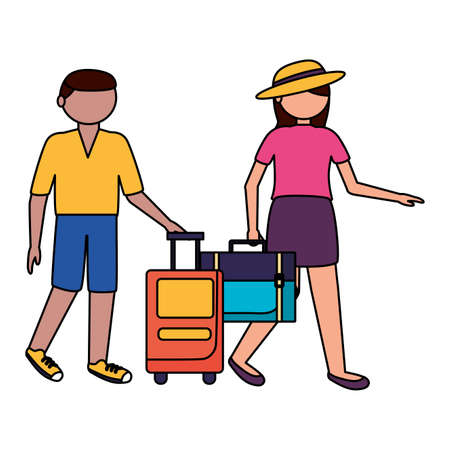 Traveler couple design, trip airport vacation journey holiday transport and voyage theme Vector illustration Vector Illustration