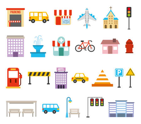bundle of city urban icons vector illustration design
