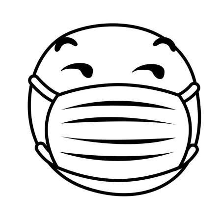 emoji sad wearing medical mask line style vector illustration design