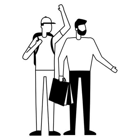 man with shopping bag and guy and backpack vector illustration