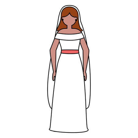 flat design wedding people beautiful bride vector illustration