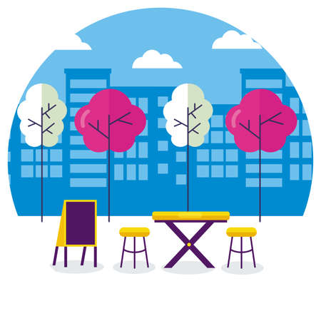 urban city food street restaurant table chairs board vector illustration