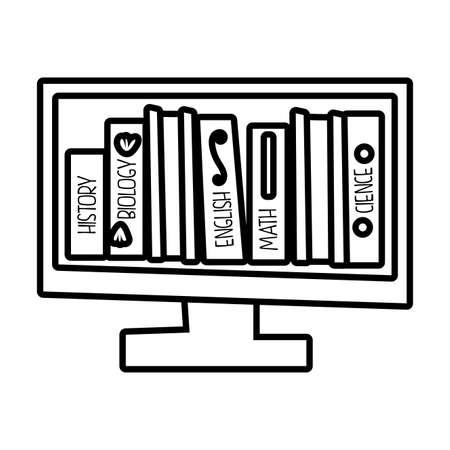 desktop with ebooks line style icon vector illustration design