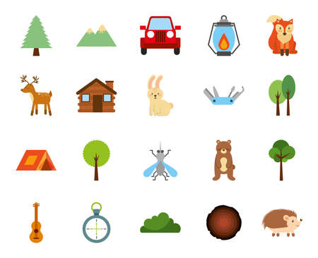 forest camping zone set icons vector illustration design