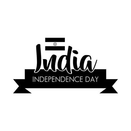 india independence day celebration with flag and ribbon silhouette style vector illustration design