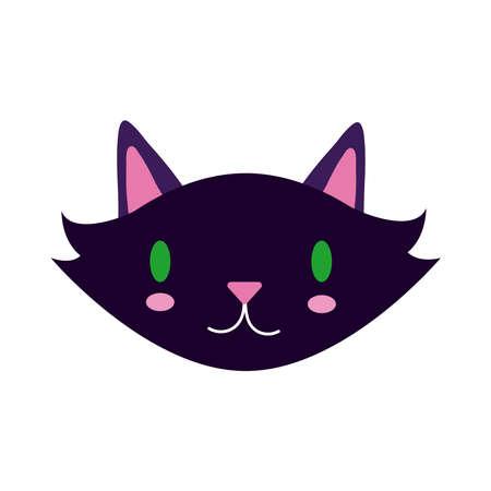 halloween cat black head flat style icon vector illustration design