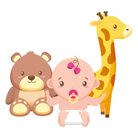 cute little baby girl with bear teddy and giraffe vector illustration design