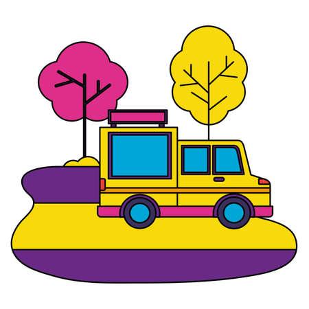 food truck park street trees design vector illustration