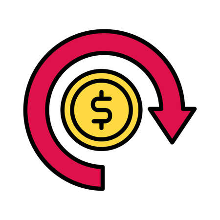 coin money dollar with arrow around line and fill style vector illustration design