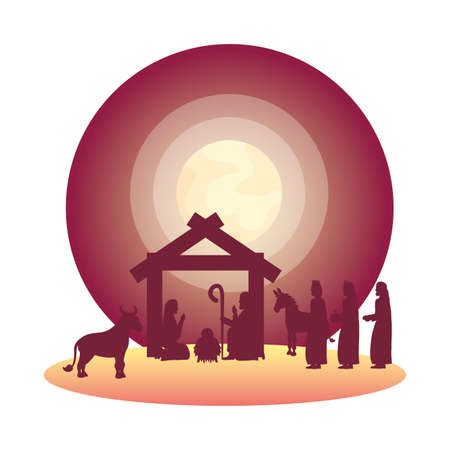 family and animals with wize men manger silhouettes vector illustration design