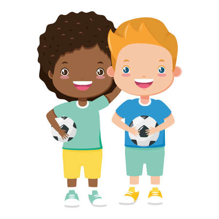boys with soccer balls on white background vector illustration