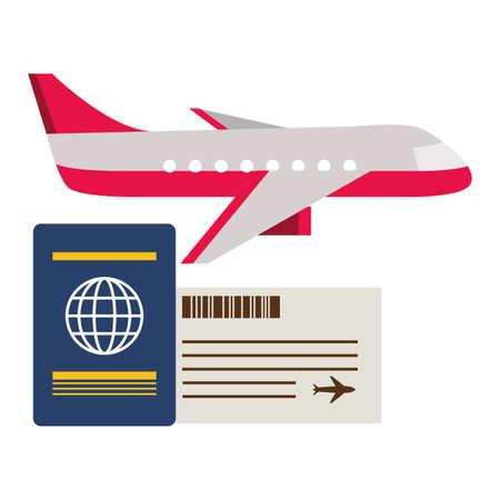 vacations airplane passport ticket travel vector illustration