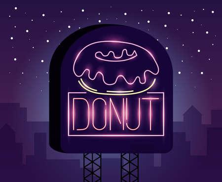 sweet donut food neon light label vector illustration design