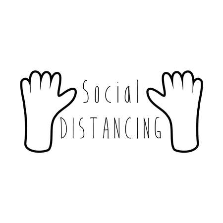 hands with social distancing campaing lettering line style vector illustration design