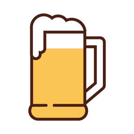 beer jar drink international day line and fill style vector illustration design