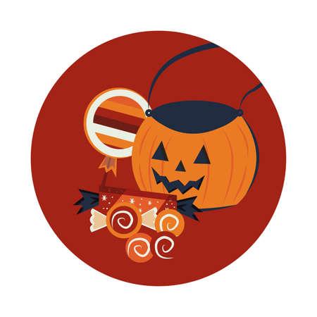 halloween pumpkin and candies scene vector illustration design