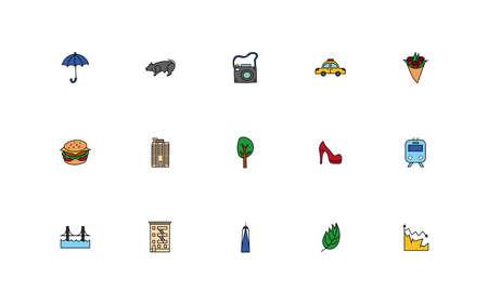 bundle of new york city set icons vector illustration design