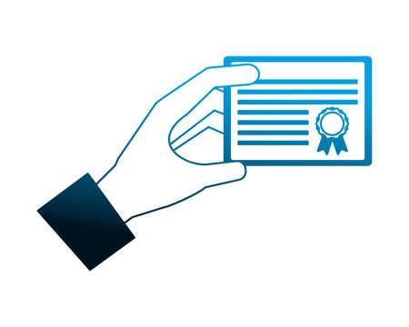 hand holds graduation school certificate vector illustration