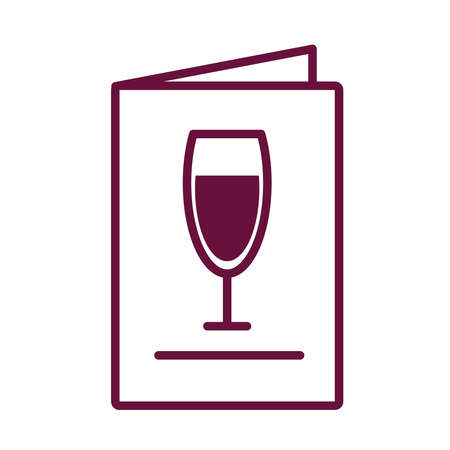 wine cup drink in menu card line style vector illustration design 向量圖像