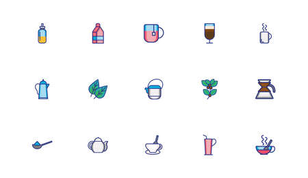 bundle of coffee set icons vector illustration design Stock Illustratie