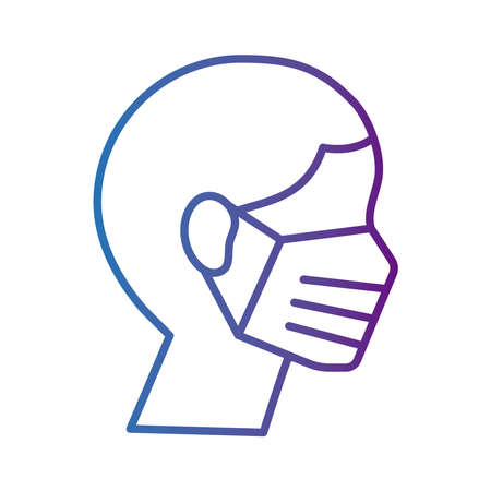 profile man wearing medical mask respiratory accessory line style icon vector illustration design