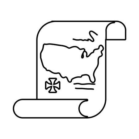 united states of america map in papyrus paper columbus day line style vector illustration design