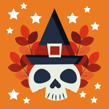 halloween skull with witch hat character vector illustration design