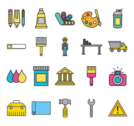 bundle of creative ideas set icons vector illustration design