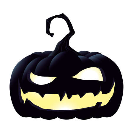halloween pumpkin lamp with face character vector illustration design