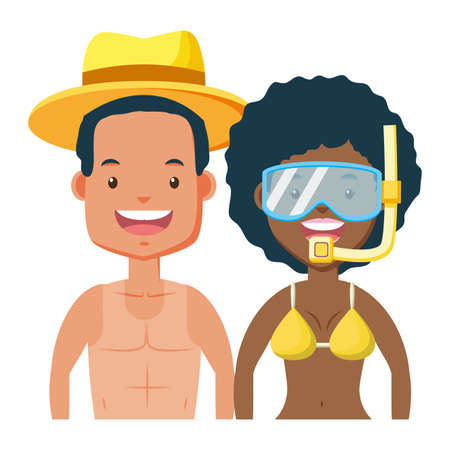 summer time couple with mask snorkel vector illustration