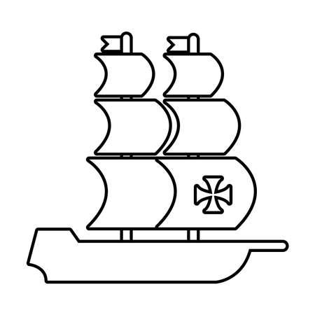 caravel ship columbus day line style icon vector illustration design