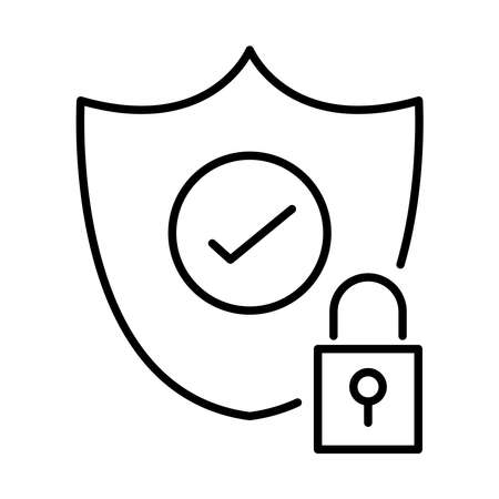 shield with padlock line style icon vector illustration design