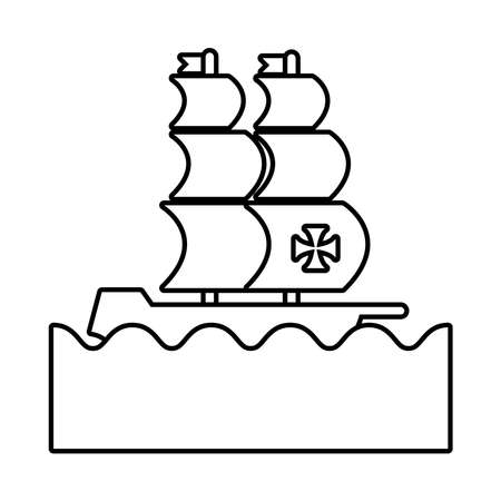 caravel ship on the sea columbus day line style icon vector illustration design