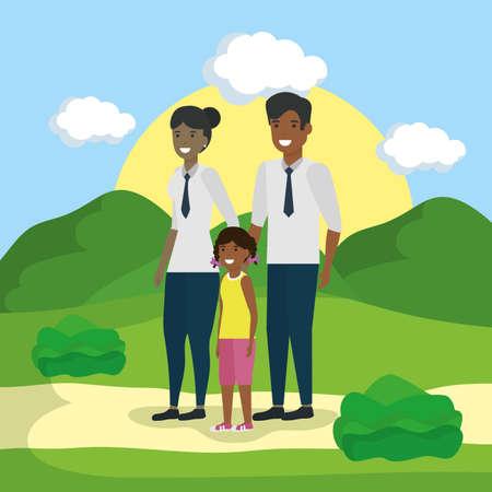 smiling family love together outdoor landscape vector illustration