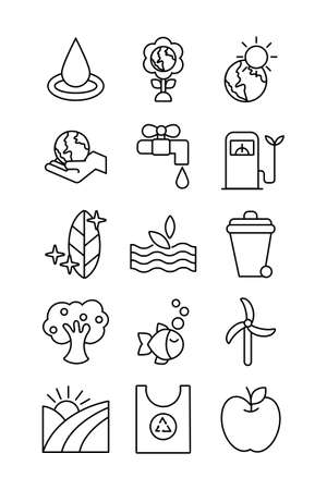 bundle of planet ecology set icons vector illustration design
