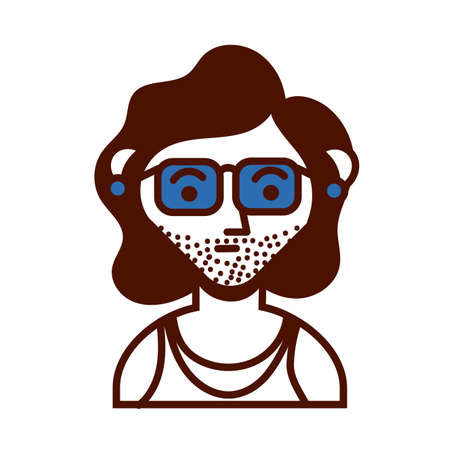 young man with sunglasses avatar character vector illustration design