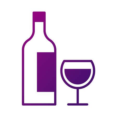 wine cup drink and bottle gradient style icon vector illustration design