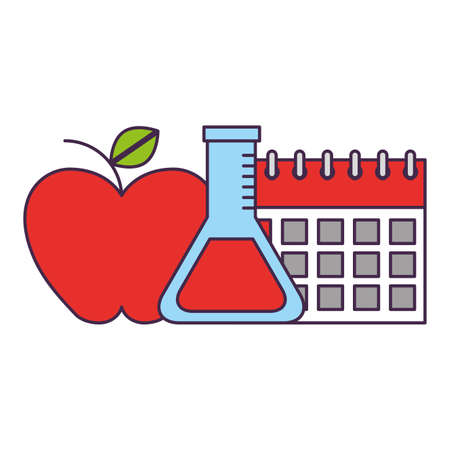 school calendar apple flask chemistry supplies vector illustration