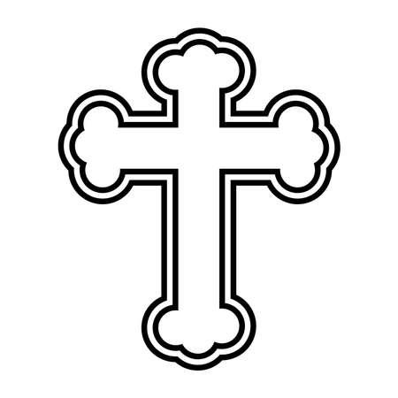 religious cross symbol line style icon vector illustration design Ilustrace
