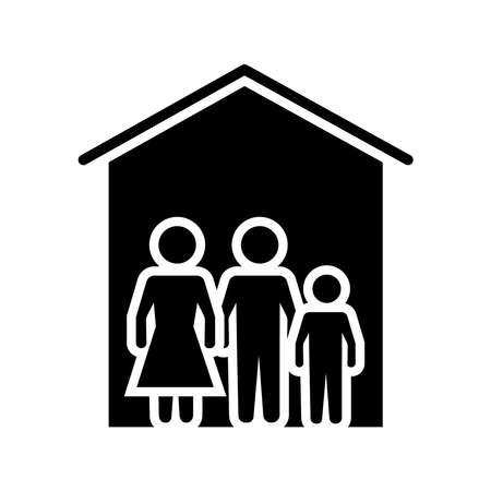 family stay at home silhouette style icon vector illustration design
