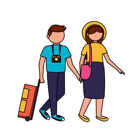 Traveler couple design, trip airport vacation journey holiday transport and voyage theme Vector illustration Stock Illustratie