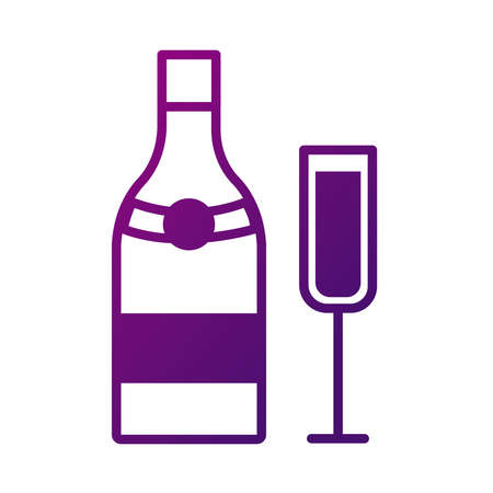 champagne cup and bottle drink gradient style icon vector illustration design 向量圖像