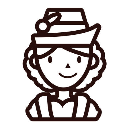 woman in traditional oktoberfest costume line style vector illustration design