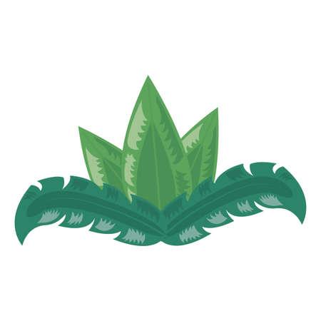 tropical leaves foliage arrangement on white background vector illustration