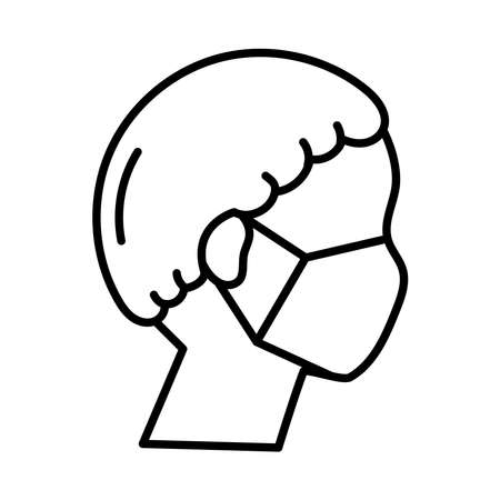profile man wearign medical mask respiratory accessory line style icon vector illustration design