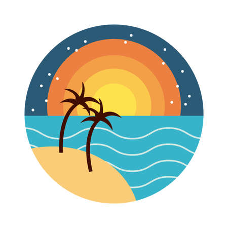sea scape scene with palms flat style icon vector illustration design