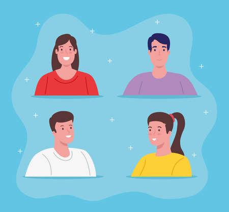 set pictures of young people vector illustration design Illusztráció