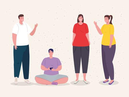 group of young people togethers vector illustration design Illusztráció